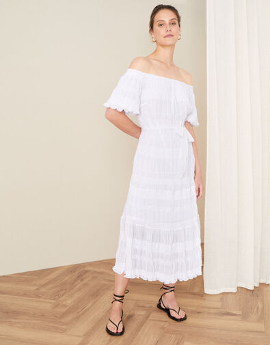 Plain Off-Shoulder Dress White, White (WHITE), large