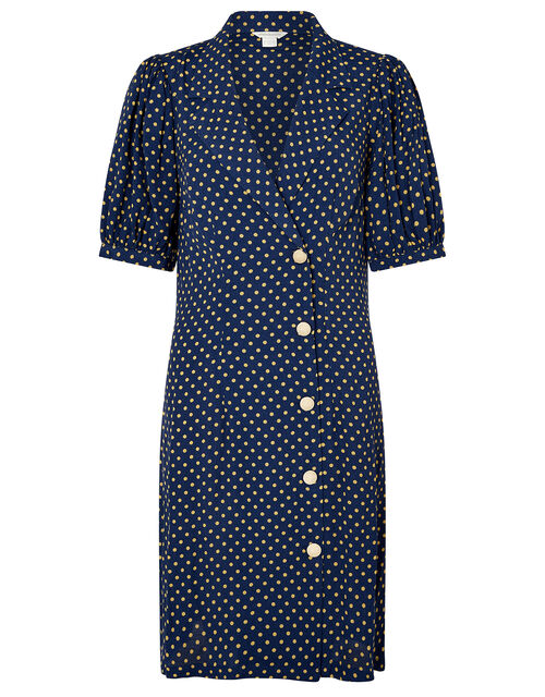 Livvy Spot Print Dress, Navy, large