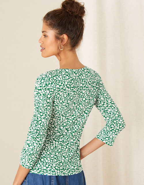 Mona Ditsy Floral Jersey Top, Green (GREEN), large