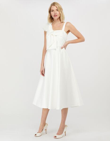 Carrie Bow Satin Midi Bridal Dress Ivory, Ivory (IVORY), large