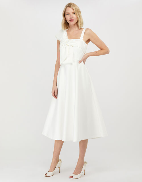 Carrie Bow Satin Midi Bridal Dress, Ivory (IVORY), large