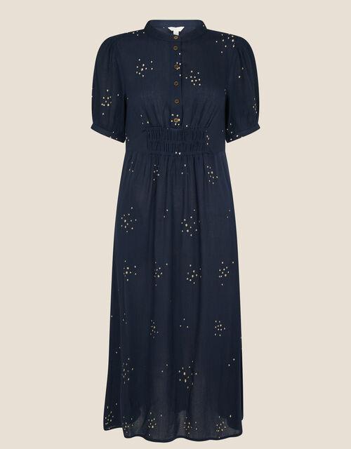 Embroidered Crinkle Midi Dress, Blue (NAVY), large
