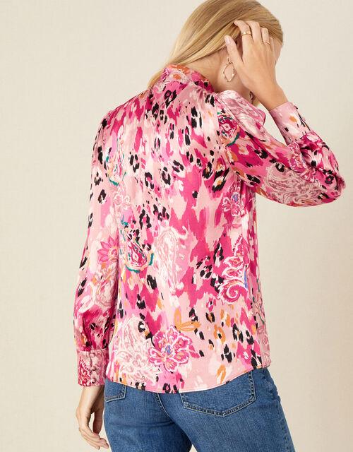 Cameia Animal Print Satin Blouse, Pink (PINK), large