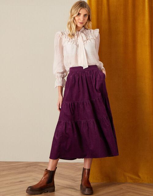 Tia Tiered Cord Skirt, Purple (PLUM), large