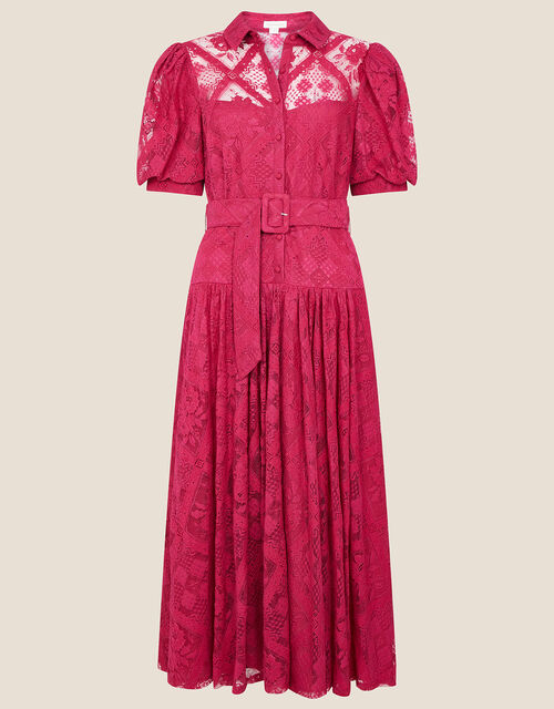 Leila Lace Shirt Dress, Red (BERRY), large