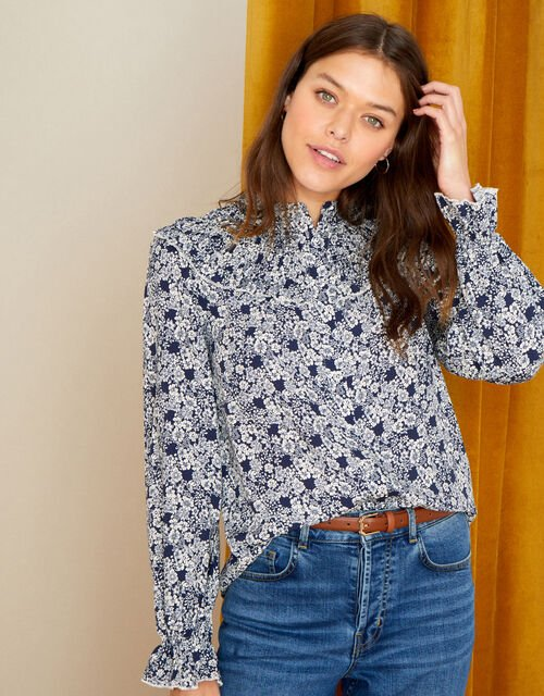 Frida Floral Blouse in LENZING™ ECOVERO™, Blue (NAVY), large