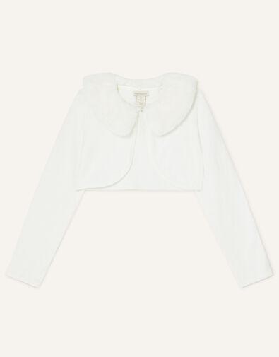 Fluffy Collar Super-Soft Cardigan Ivory, Ivory (IVORY), large