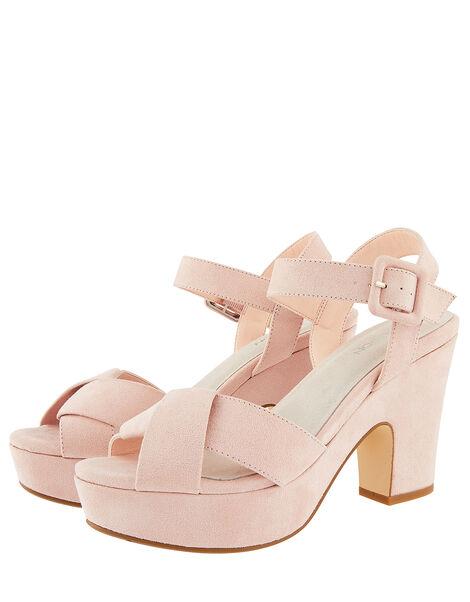Polly Platform Heeled Sandals Pink, Pink (BLUSH), large