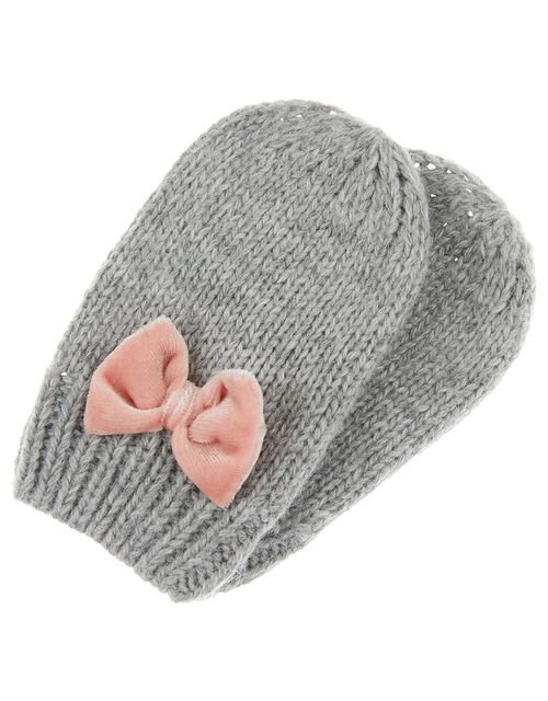 Baby Ellie Bow Knit Mittens, Grey (GREY), large
