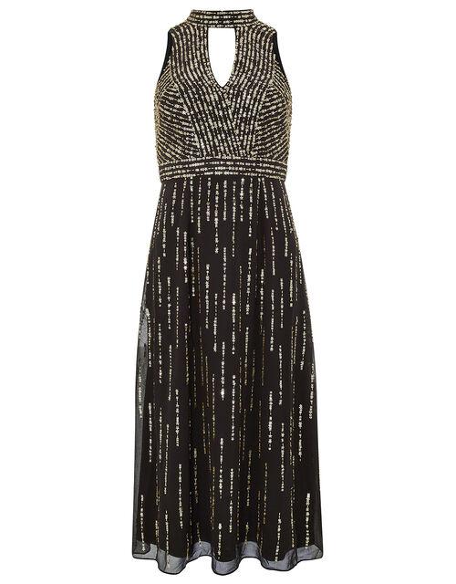 Lisa Star Sequin Midi Dress, Black, large