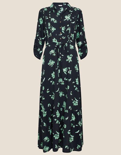 Embellished Floral Midi Dress, Black (BLACK), large