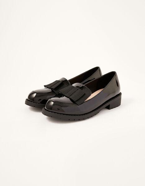 Grosgrain Bow Patent Loafers Black, Black (BLACK), large