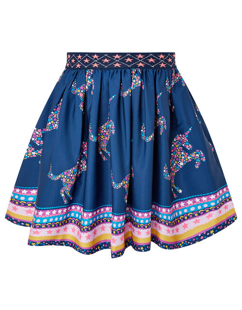 Starry Unicorn Skirt in Recycled Fabric, Blue (NAVY), large