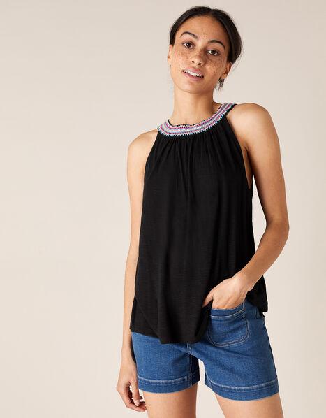 Embroidered Neckline Jersey Top Black, Black (BLACK), large