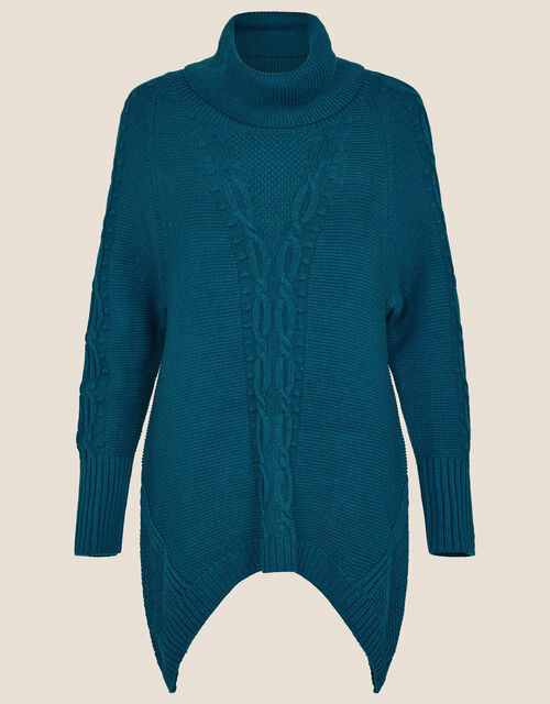 Roll Neck Cable Knit Jumper, Teal (TEAL), large