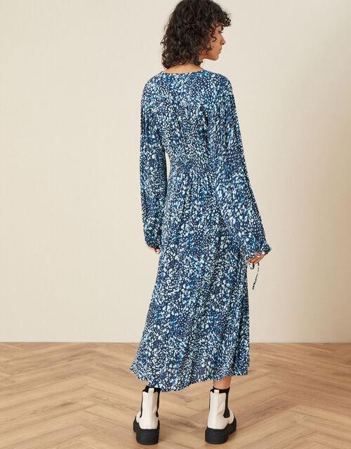 Shirred Animal Print Dress , Blue (NAVY), large