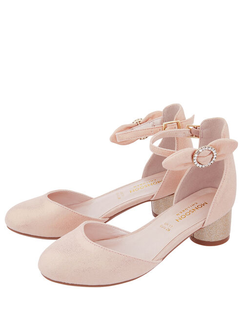 Florence Diamante Bow Two-Part Shoe, Pink (PALE PINK), large