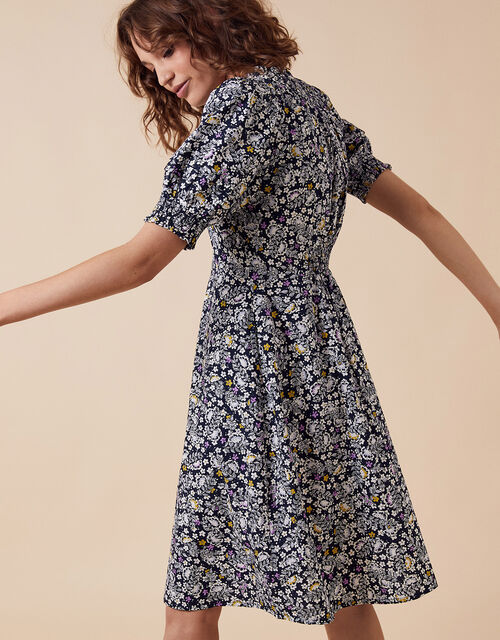 Ditsy Floral Print Dress in Organic Cotton, Blue (NAVY), large