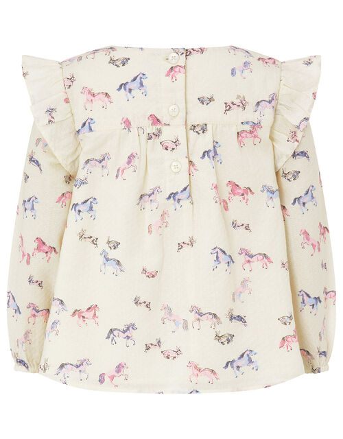 Baby Horse Blouse and Leggings Set in Organic Cotton, Ivory (IVORY), large
