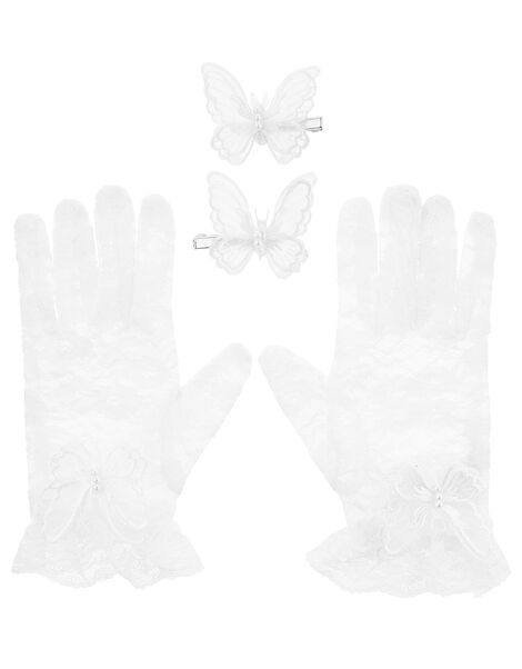 Organza Butterfly Lace Gloves and Hair Clips, , large
