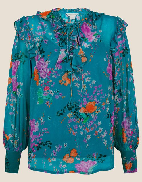 Omi Oriental Floral Frill Blouse, Blue (BLUE), large