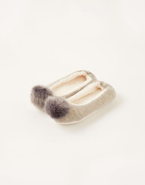 Fluffy Pom-Pom Ballerina Slippers, Grey (GREY), large