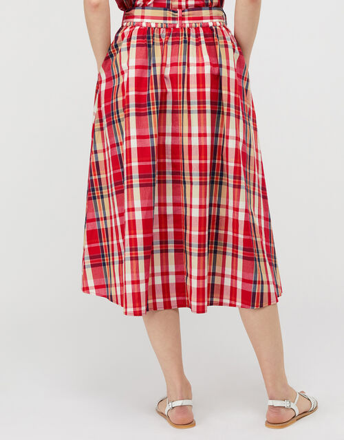 Nila Check Midi Skirt in Organic Cotton, Red (RED), large