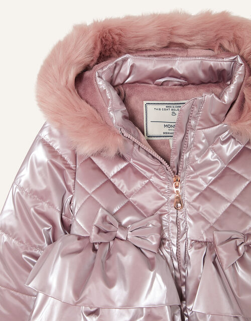 Baby Metallic Frill Puffball Coat, Pink (PINK), large