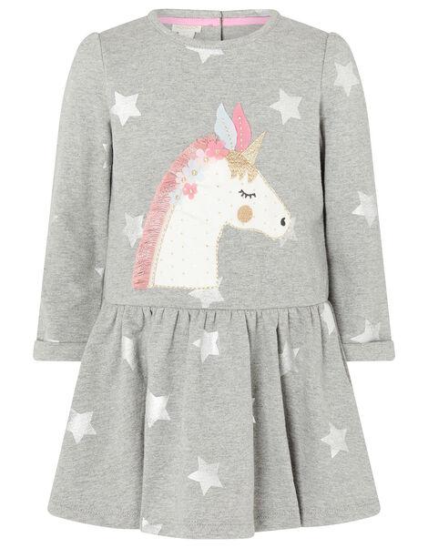Baby Unicorn Sweat Dress in Pure Cotton Grey, Grey (GREY), large