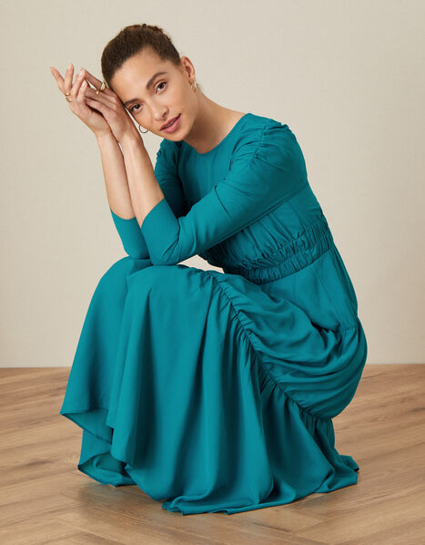 Penny Tiered Midi Dress Teal, Teal (TEAL), large