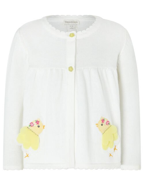 Baby Chick Knit Cardigan in Organic Cotton, Ivory (IVORY), large