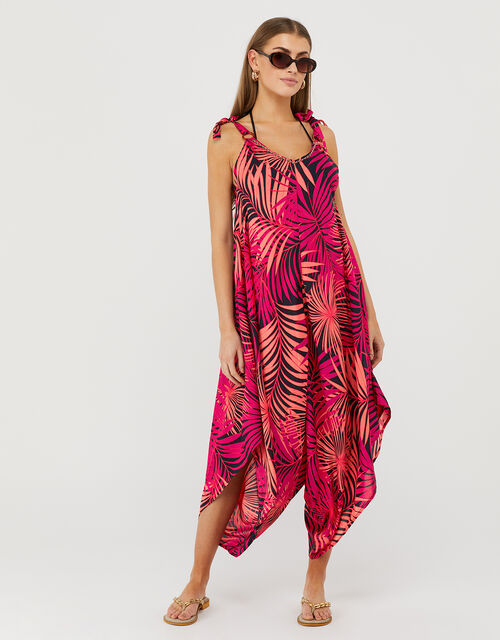 Priti Palm Print Relaxed Romper in LENZING™ ECOVERO™, Pink (PINK), large