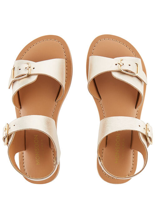 Buckle Leather Sandals, Gold (GOLD), large