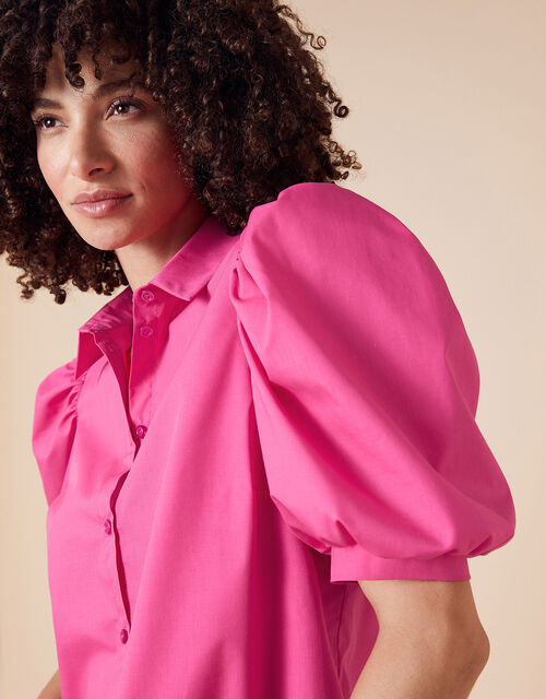 Puff Sleeve Shirt in Pure Cotton, Pink (PINK), large