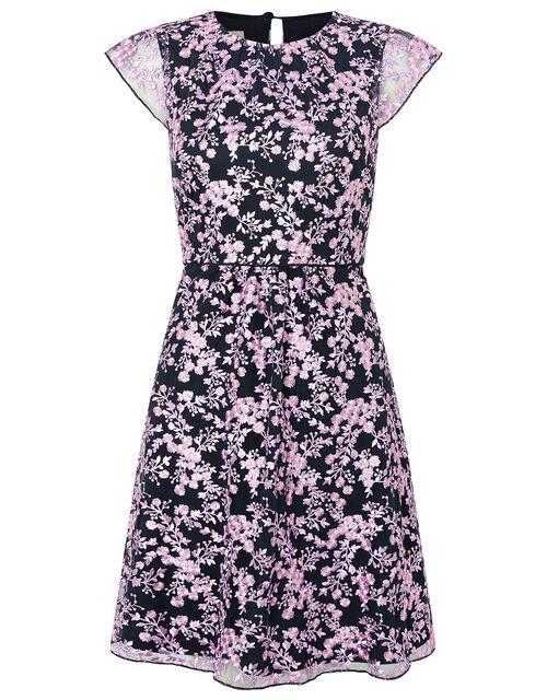 Aster Floral Embroidered Shift Dress, Blue (NAVY), large