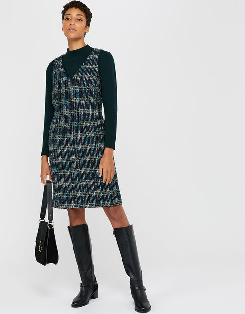 Talia Check Dress, Teal, large