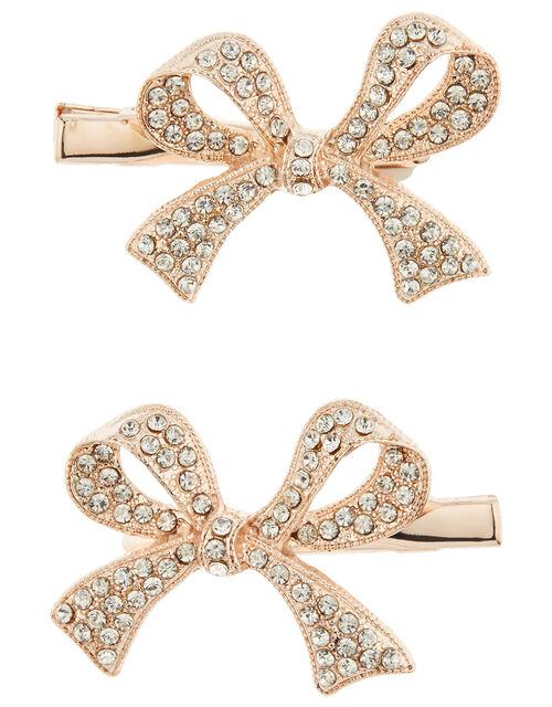 Diana Diamante Bow Hair Clips, , large