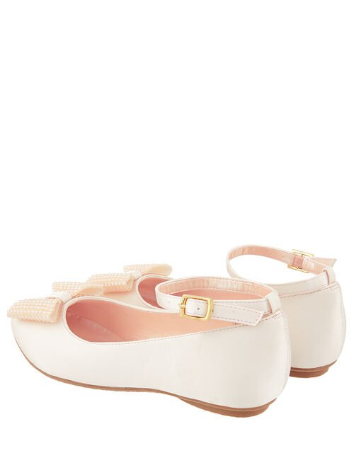 Blush Pearl Bow Satin Ballerina Shoes, Natural (CHAMPAGNE), large