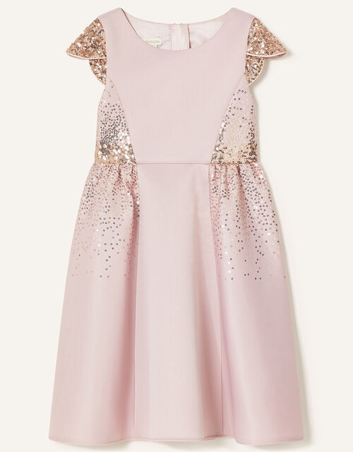 Sequin Scuba Dress, Pink (DUSKY PINK), large