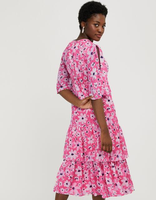 Daisy Print Tiered Midi Dress, Pink (PINK), large