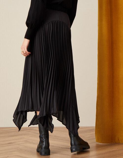 Pleated Handkerchief Hem Midi Skirt , Black (BLACK), large