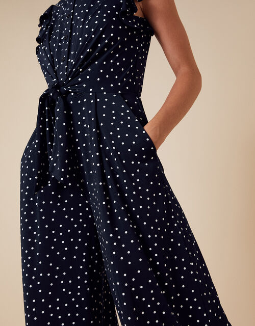 Spot Print Stretch Jumpsuit, Blue (NAVY), large