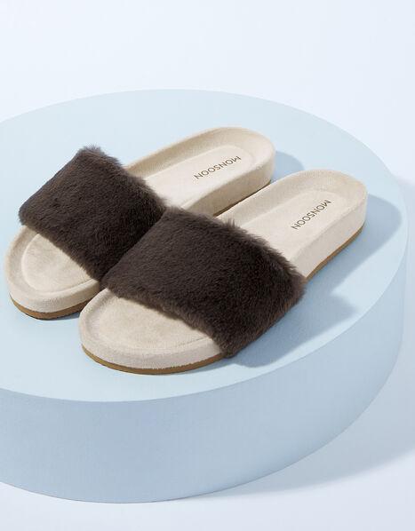 LOUNGE Faux Fur Slider Slippers Grey, Grey (GREY), large