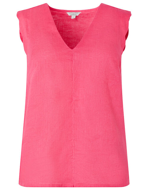 Lotus Scalloped Sleeveless Top in Pure Linen, Pink (PINK), large