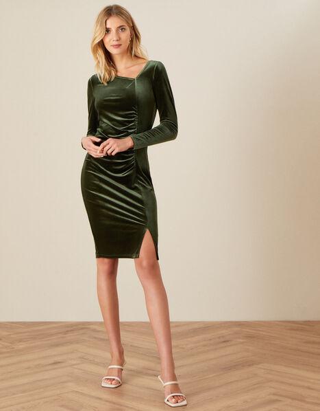 Catriona Velvet Shift Dress Green, Green (OLIVE), large