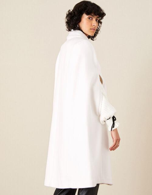 Caroline Sleeveless Coat, White (WHITE), large