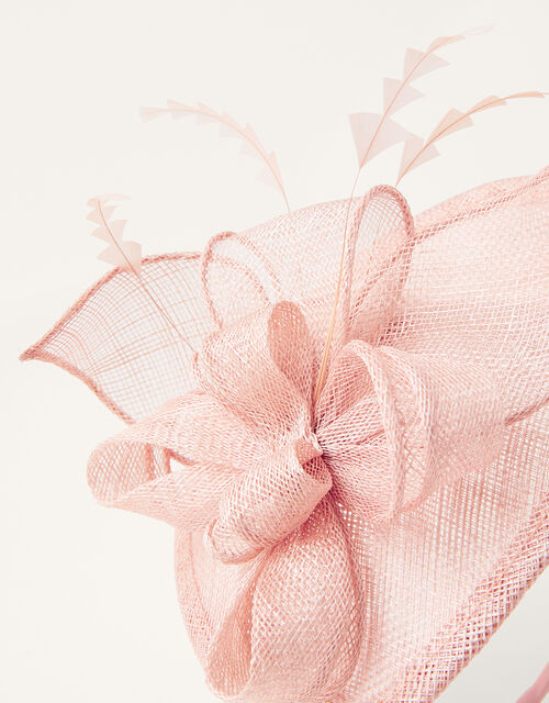 Bow Small Disc Fascinator Headband, Pink (BLUSH), large