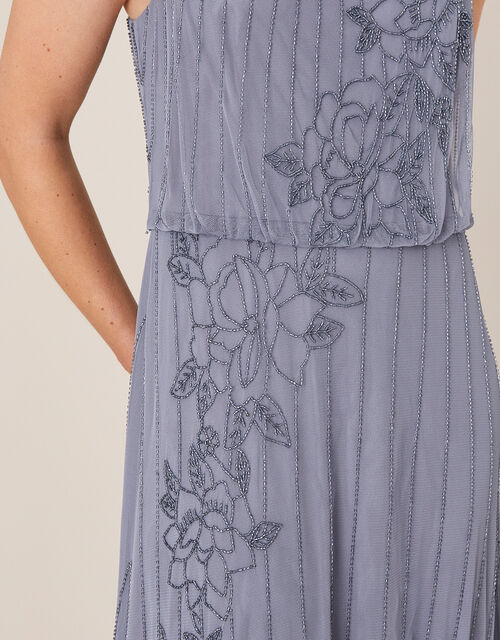 Summer Beaded Floral Maxi Dress, Blue (DARK BLUE), large