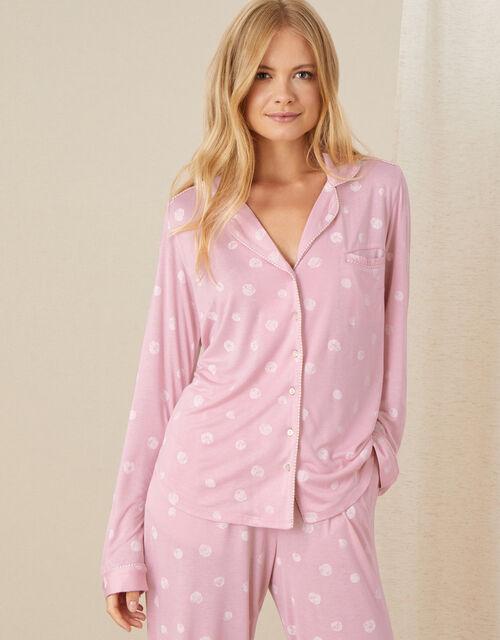 Spot Print Pyjama Shirt , Pink (PINK), large