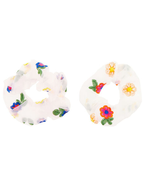Floral Embroidered Organza Scrunchies, , large